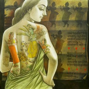 Untitled by Sukanta Das, Expressionism Painting, Acrylic on Canvas, Green color