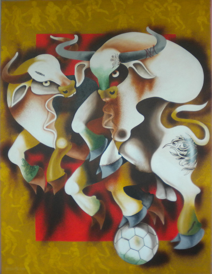 play 2 by Uttam Manna, Expressionism Painting, Acrylic on Canvas, Brown color