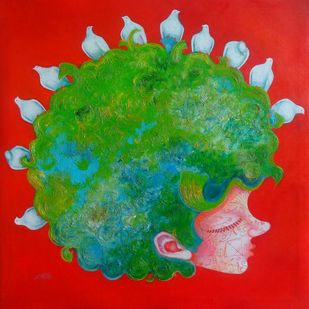 The childhood viii by shiv kumar soni, Expressionism Painting, Mixed Media on Canvas, Green color