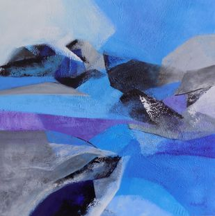 Directions by Vishwajyoti Mohrhoff, Abstract Painting, Acrylic on Canvas, Blue color