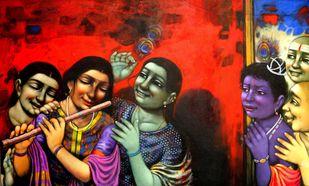 Radha by Apet Pramod Mahadev, Expressionism Painting, Acrylic on Canvas, Brown color