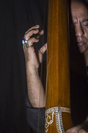Ustad Wasifuddin Dagar immersed in his music by Ankit Agrawal, Image Photography, Digital Print on Archival Paper, Brown color