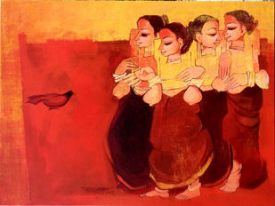 conversation 3 by Sarang Waghmare, Expressionism Painting, Acrylic on Canvas, Red color