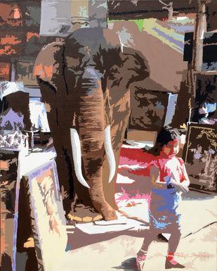 Rakshak by raj kumar sharma, Impressionism Painting, Acrylic on Canvas, Brown color
