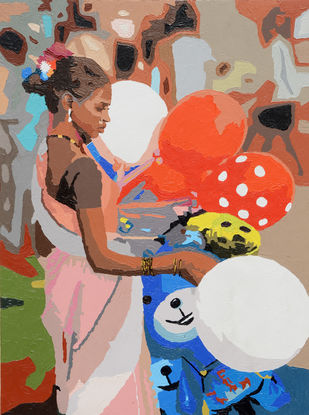 Rozy by raj kumar sharma, Impressionism Painting, Acrylic on Canvas, Brown color