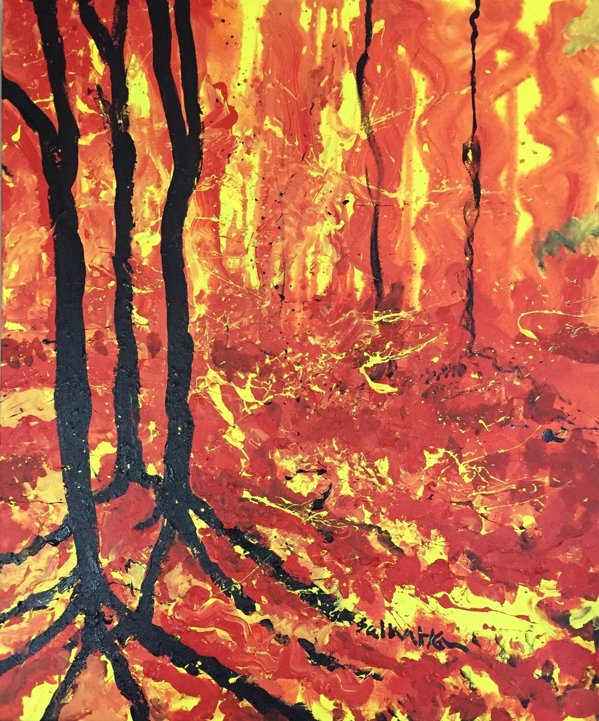 The wild fire by Saikat Chakraborty, Abstract Painting, Acrylic on Canvas, Brown color