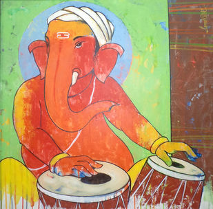 Ganesha 007 by Ganesh Patil, Traditional Painting, Acrylic on Canvas, Brown color
