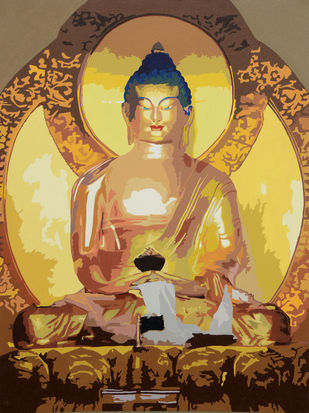 Buddha by raj kumar sharma, Impressionism Painting, Acrylic on Canvas, Brown color