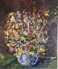 The flower vase - a celebration by Saikat Chakraborty, Abstract Painting, Acrylic on Canvas, Brown color