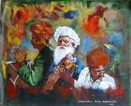 Rajasthani Musicians Digital Print by Sreenivasa Ram Makineedi,Expressionism