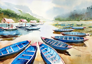 ''Lake Series'' by GN Madhu, Impressionism Painting, Watercolor on Paper, Beige color