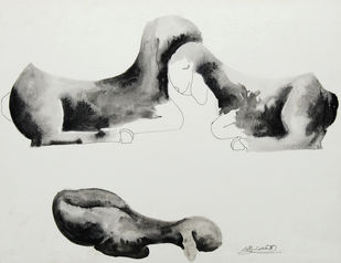 Untitled by Sukka Sunder, Illustration Painting, Watercolor on Paper, Gray color