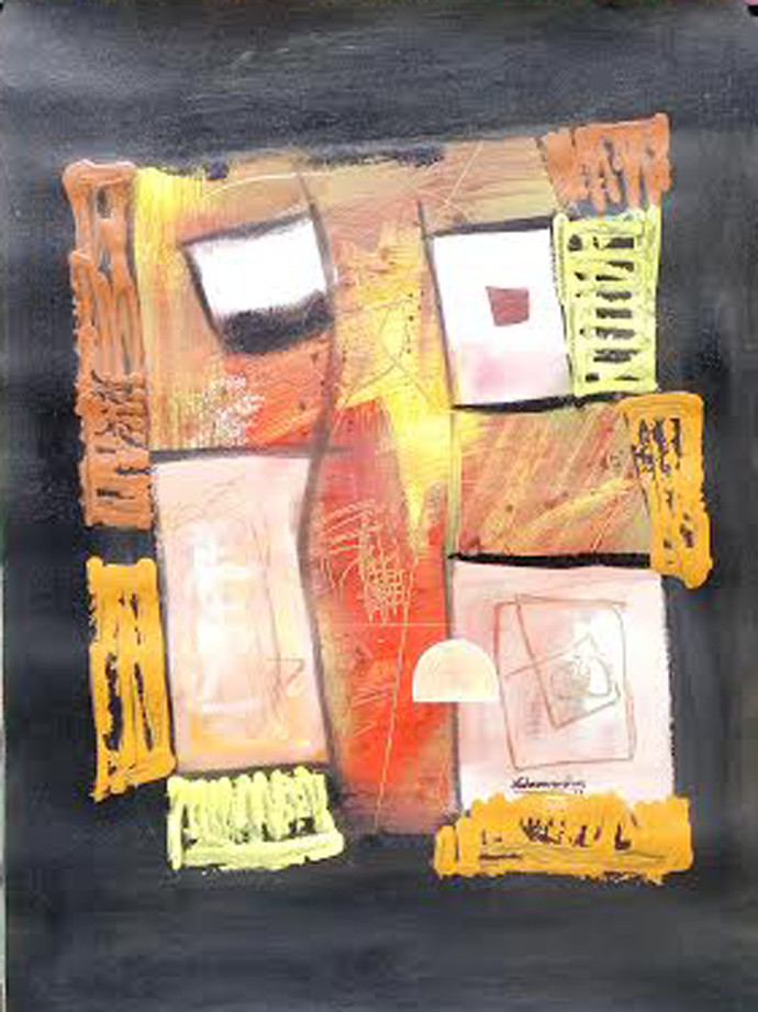 untitle by Naheem Rustum, Abstract Painting, Acrylic on Paper, Beige color