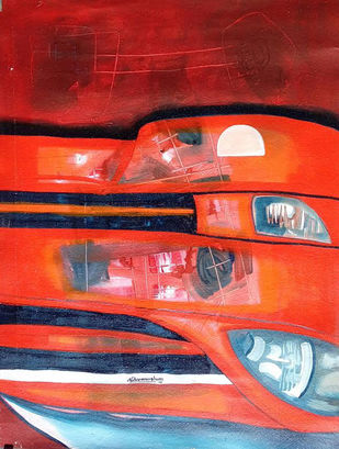untitle by Naheem Rustum, Abstract Painting, Acrylic on Paper, Red color