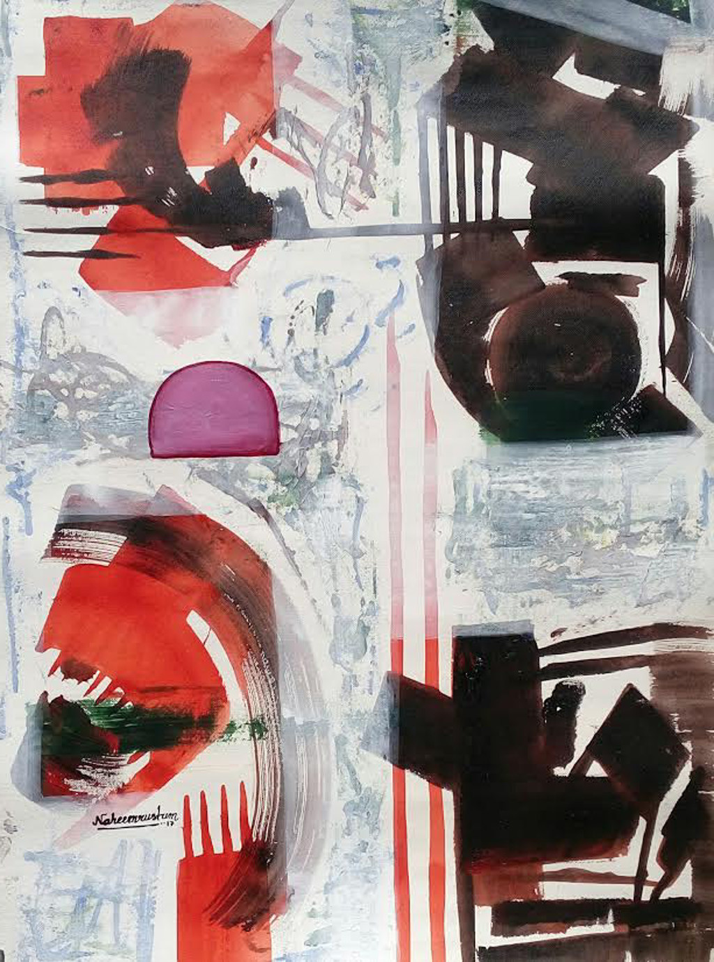 untitle by Naheem Rustum, Abstract Painting, Acrylic on Paper, Gray color
