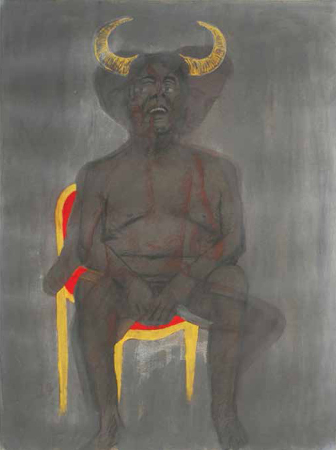 Apocalypse 1 by Durgaprasad Bandi, Expressionism Painting, Mixed Media on Paper, Gray color