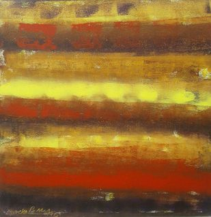Untitled by Maredu Ramu, Abstract Painting, Acrylic on Canvas, Brown color