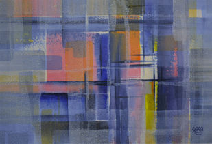 Harmony of Colours by Shirish Deshpande, Geometrical Painting, Acrylic on Canvas, Cyan color