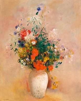 Vase of Flowers (Pink Background) Digital Print by Redon, Odilon,Art Deco