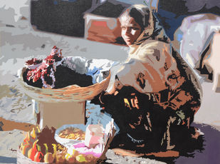 Shabri by raj kumar sharma, Expressionism Painting, Acrylic on Canvas, Brown color