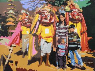 Selfie by raj kumar sharma, Impressionism Painting, Acrylic on Canvas, Brown color