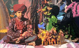 Haat by raj kumar sharma, Impressionism Painting, Acrylic on Canvas, Brown color