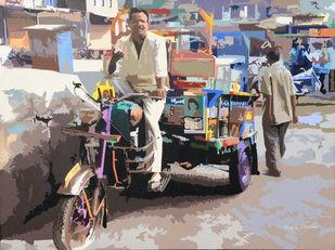 Rikshaw by raj kumar sharma, Expressionism Painting, Acrylic on Canvas, Brown color