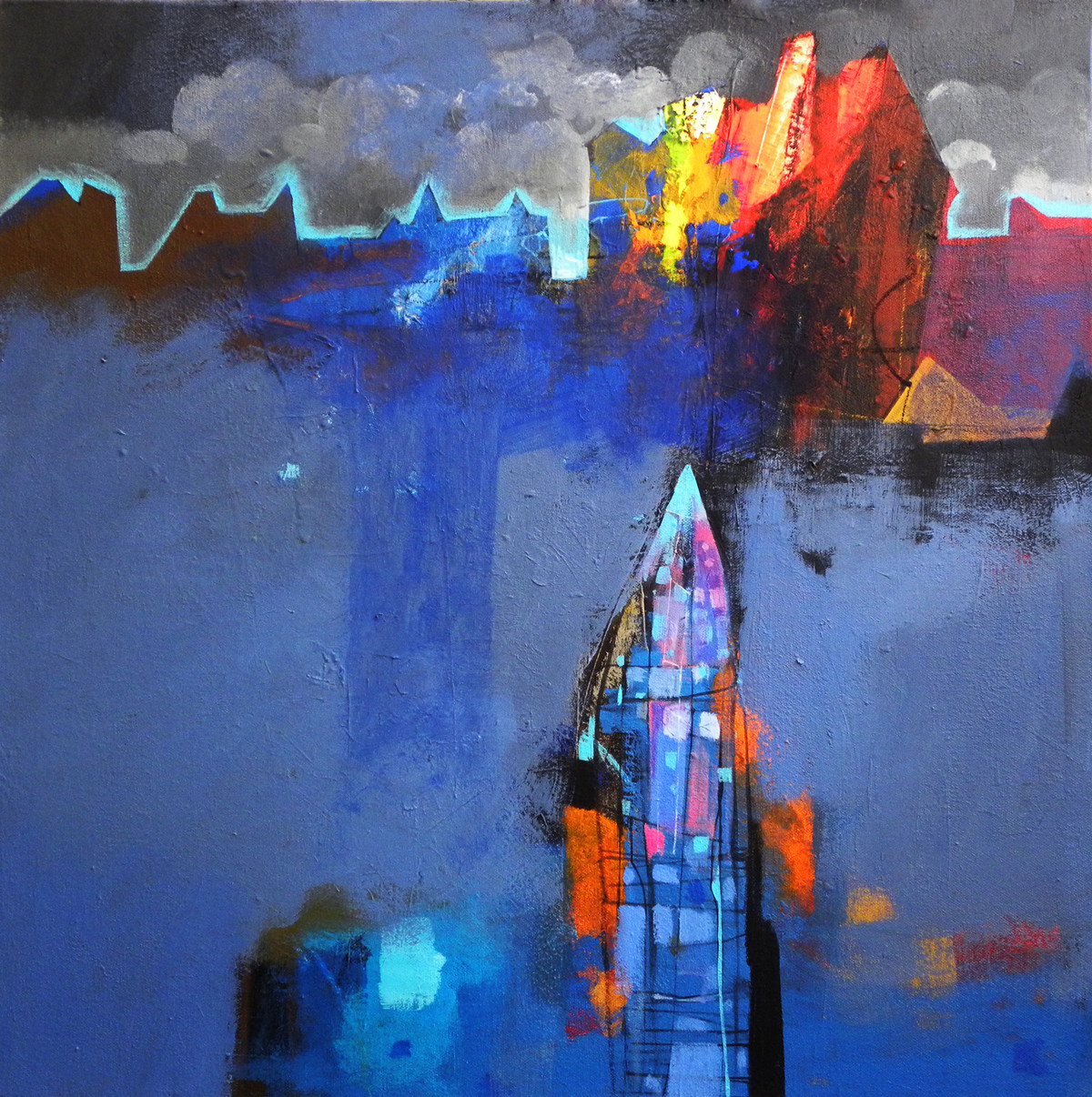 Untitled by Pradip Sengupta, Abstract Painting, Acrylic on Canvas, Blue color