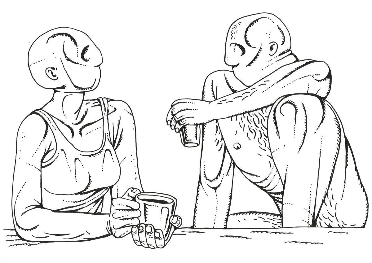conversation 2 by Nitin Kushwaha, Illustration Drawing, Ink on Paper, Gray color