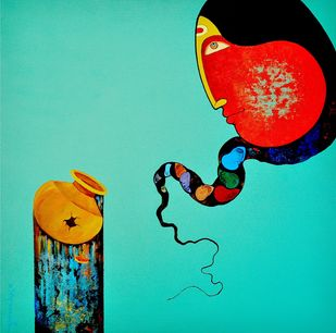 untitled by Kiran sherkhane , Expressionism Painting, Acrylic on Canvas, Cyan color