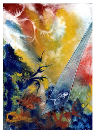 Journey of my Dream by Nivedita Dutta, Abstract Painting, Mixed Media on Paper, Brown color