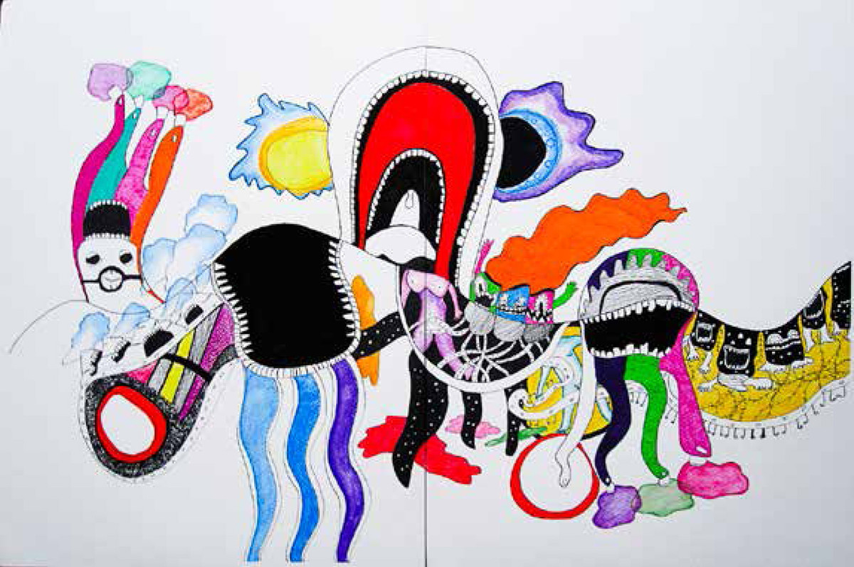 The city as an organism - Bangalore by Clyde D'mello, Pop Art Painting, Watercolor & Ink on Paper, Gray color