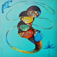 untitled 3 by Kiran sherkhane , Expressionism Painting, Acrylic on Canvas, Cyan color