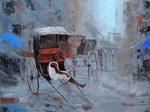 Rickshaw Puller in Kolkata by Purnendu Mandal, Impressionism Painting, Acrylic on Canvas, Green color
