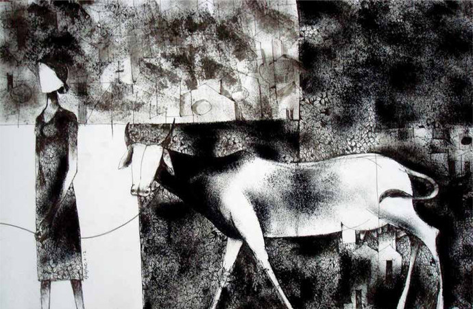 Love Story by Ashok, Expressionism Printmaking, Etching on Paper, Gray color