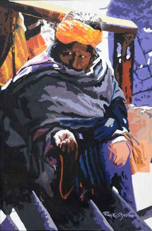 AAS by raj kumar sharma, Impressionism Painting, Acrylic on Canvas, Blue color