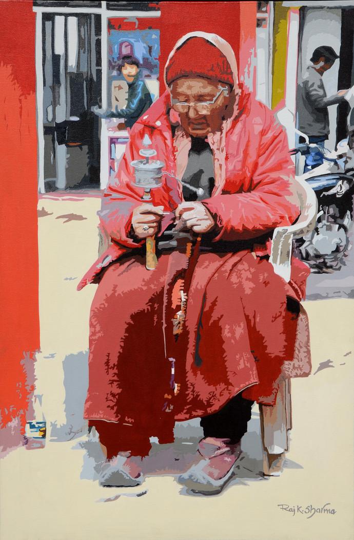 Chanting by raj kumar sharma, Impressionism Painting, Acrylic on Canvas, Brown color