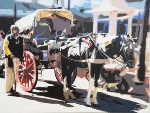 Companion by raj kumar sharma, Impressionism Painting, Acrylic on Canvas, Gray color