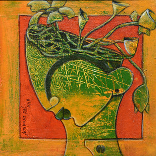 blossoming mind 5 by anupam pal, Expressionism Painting, Acrylic on Canvas, Brown color