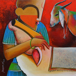 bovine friendship 3 by anupam pal, Decorative Painting, Acrylic on Canvas, Brown color