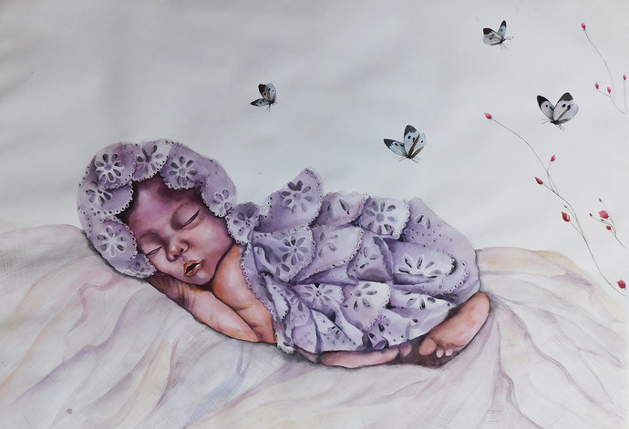 Enocent Baby by Pranati Das, Expressionism Drawing, Watercolor on Paper, Gray color