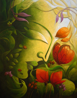 Vandevta I by Dhananjay Mukherjee, Decorative Painting, Acrylic on Canvas, Green color