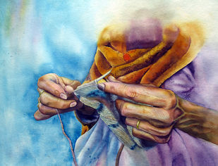 Constracion of the feature by Pranati Das, Expressionism Painting, Watercolor on Paper, Cyan color