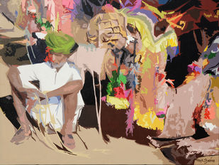 Pause by raj kumar sharma, Expressionism Painting, Acrylic on Canvas, Brown color