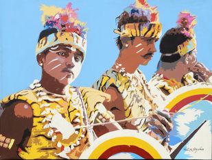 Performance by raj kumar sharma, Expressionism Painting, Acrylic on Canvas, Cyan color