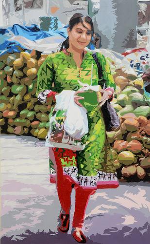 Guddo by raj kumar sharma, Expressionism Painting, Acrylic on Canvas, Brown color