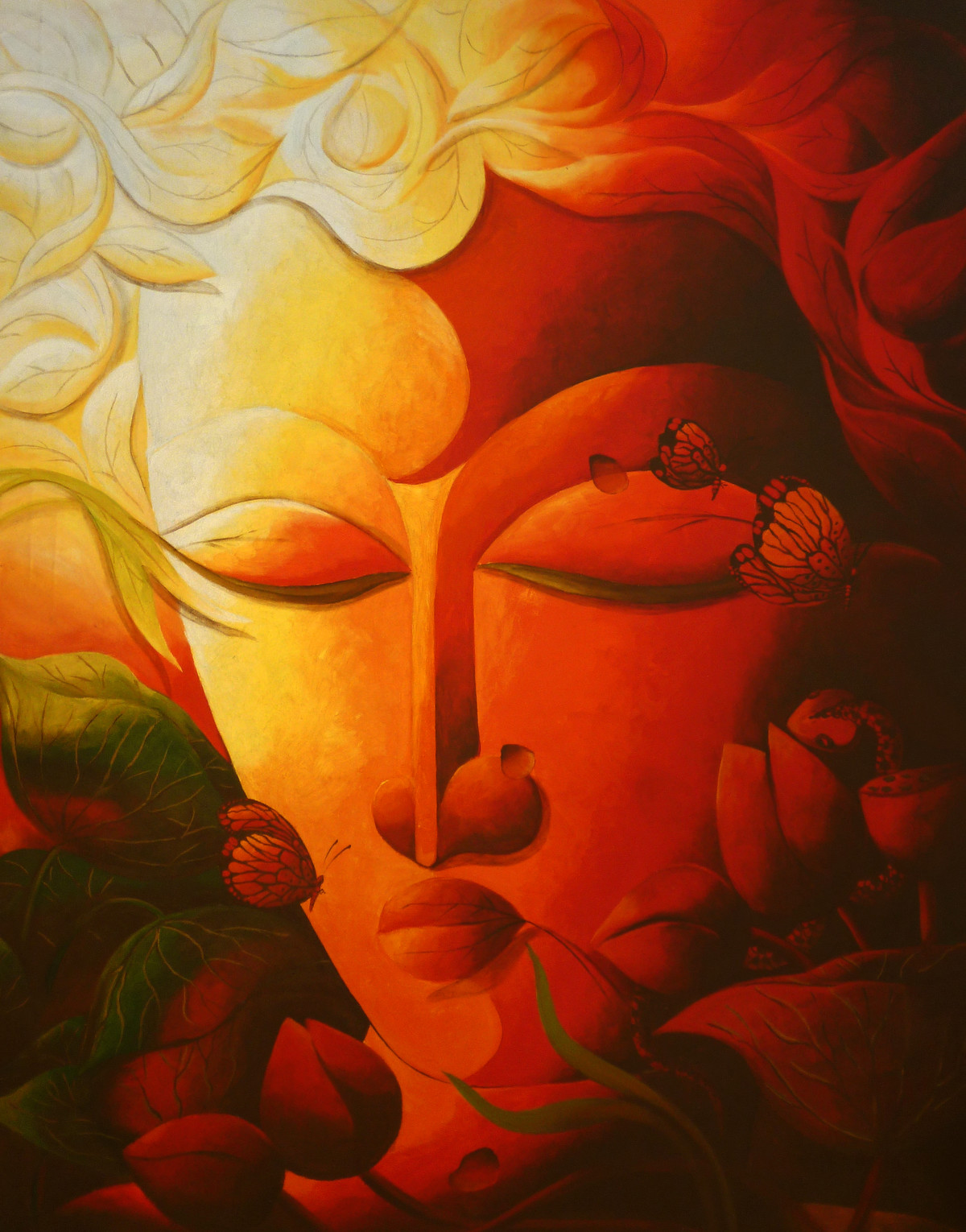 Vandevta (God of the Rain Forest) by Dhananjay Mukherjee, Traditional Painting, Acrylic on Canvas, Brown color