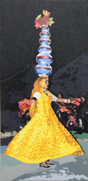 Performer by raj kumar sharma, Expressionism Painting, Acrylic on Canvas, Gray color