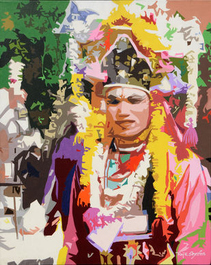 Rangilo by raj kumar sharma, Expressionism Painting, Acrylic on Canvas, Brown color