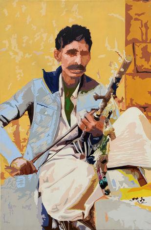 Gajiram by raj kumar sharma, Expressionism Painting, Acrylic on Canvas, Beige color